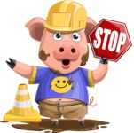 Pig with T-Shirt Cartoon Vector Character AKA Ricky the Happy Piggy - Under Construction 1