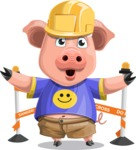 Pig with T-Shirt Cartoon Vector Character AKA Ricky the Happy Piggy - Under Construction 2