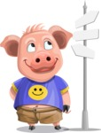 Pig with T-Shirt Cartoon Vector Character AKA Ricky the Happy Piggy - Crossroad