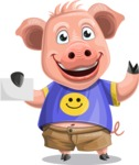 Pig with T-Shirt Cartoon Vector Character AKA Ricky the Happy Piggy - Sign 1
