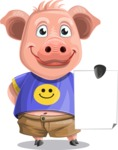 Pig with T-Shirt Cartoon Vector Character AKA Ricky the Happy Piggy - Sign 2