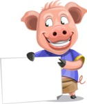 Pig with T-Shirt Cartoon Vector Character AKA Ricky the Happy Piggy - Sign 3