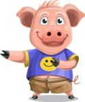 Pig with T-Shirt Cartoon Vector Character AKA Ricky the Happy Piggy - Point