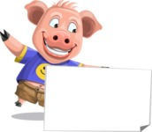Pig with T-Shirt Cartoon Vector Character AKA Ricky the Happy Piggy - Sign 7