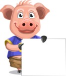 Pig with T-Shirt Cartoon Vector Character AKA Ricky the Happy Piggy - Sign 8