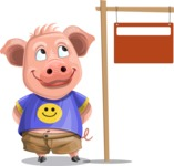 Pig with T-Shirt Cartoon Vector Character AKA Ricky the Happy Piggy - Sign 9
