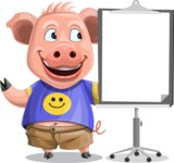 Pig with T-Shirt Cartoon Vector Character AKA Ricky the Happy Piggy - Presentation 1