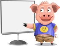 Pig with T-Shirt Cartoon Vector Character AKA Ricky the Happy Piggy - Presentation 2