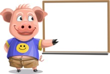 Pig with T-Shirt Cartoon Vector Character AKA Ricky the Happy Piggy - Presentation 3
