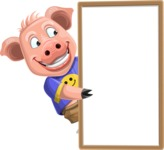 Pig with T-Shirt Cartoon Vector Character AKA Ricky the Happy Piggy - Presentation 4