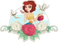 Pinup Girl and Roses Sticker