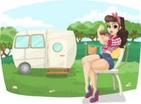 Pinup Girl Sitting Outdoors