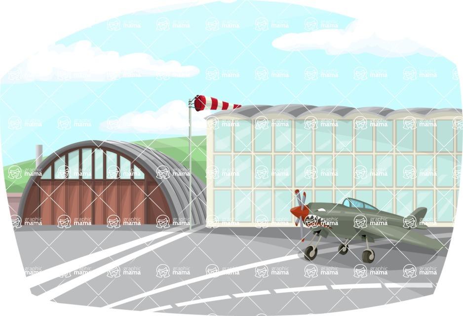 Pin Up Vectors - Mega Bundle - War Plane at Airport