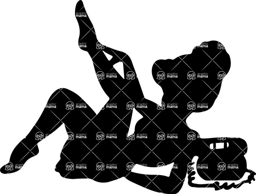 Pin Up Vectors - Mega Bundle - Laying Pin-up Girl Silhouette