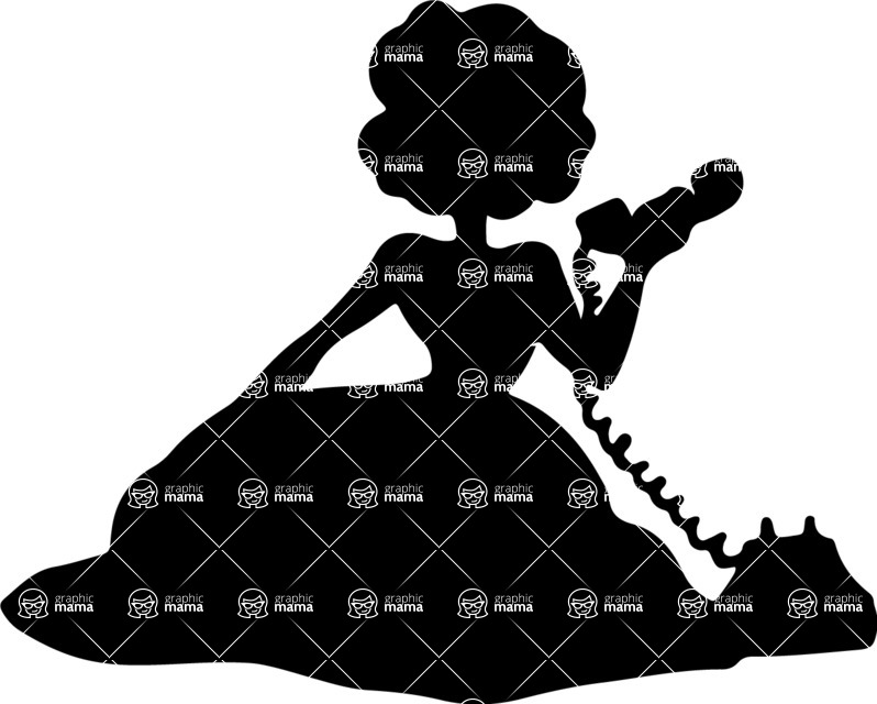 Pin Up Vectors - Mega Bundle - Girl On the Phone Silhouette