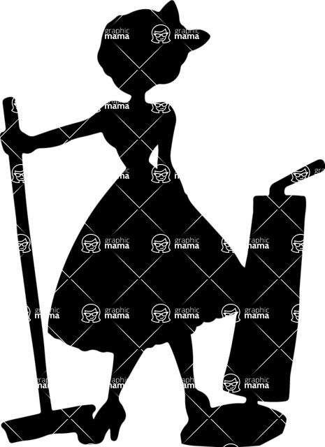 Pin Up Vectors - Mega Bundle - Pin-up Housewife Silhouette