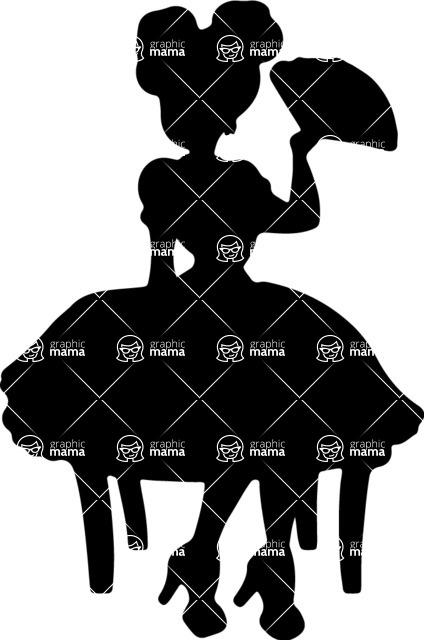 Pin Up Vectors - Mega Bundle - Pin-Up Girl Holding a Hand Fan