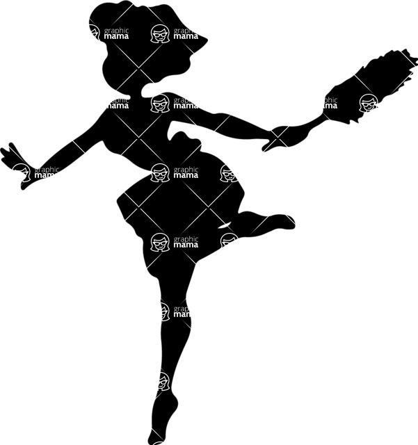 Pin Up Vectors - Mega Bundle - Housewife Jumping Happy