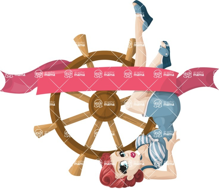 Pin Up Vectors - Mega Bundle - Girl on Ship's Wheel Sticker