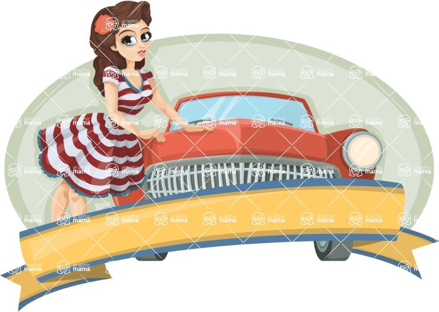 Pin Up Vectors - Mega Bundle - Vintage Car and Girl