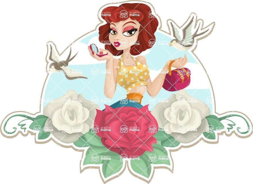 Pin Up Vectors - Mega Bundle - Pinup Girl and Roses Sticker