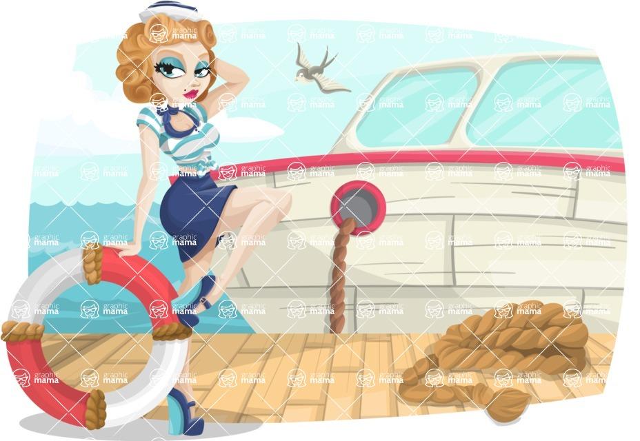 Pin Up Vectors - Mega Bundle - Marine Girl at Dock