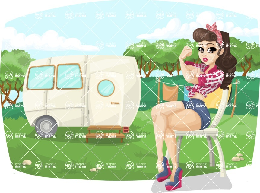 Pin Up Vectors - Mega Bundle - Pinup Girl Sitting Outdoors