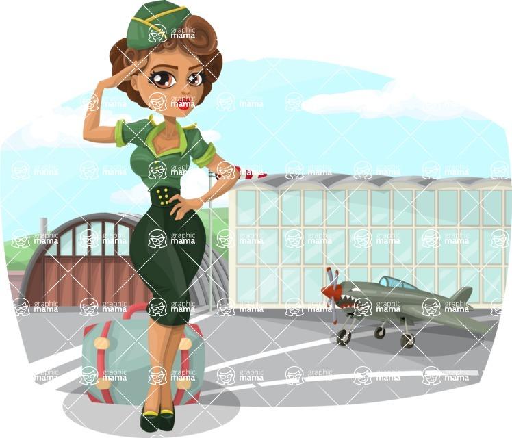 Pin Up Vectors - Mega Bundle - Military Girl at Airport