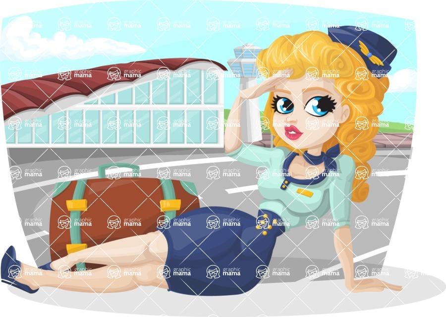 Pin Up Vectors - Mega Bundle - Sexy Flying Attendant at Airport
