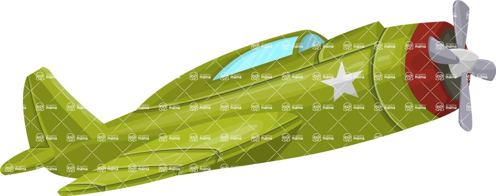 Pin Up Vectors - Mega Bundle - Flying Retro War Plane