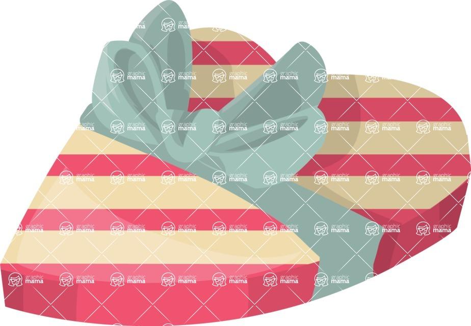 Pin Up Vectors - Mega Bundle - Heart-shaped Gift Box