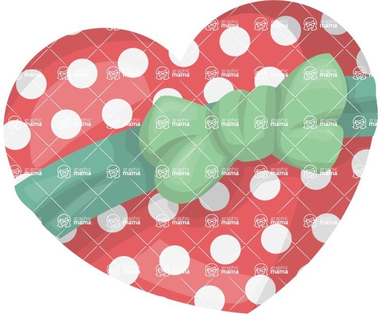 Pin Up Vectors - Mega Bundle - Polka Dot Heart with a Bow