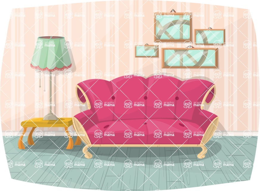 Pin Up Vectors - Mega Bundle - Vintage Living Room Interior