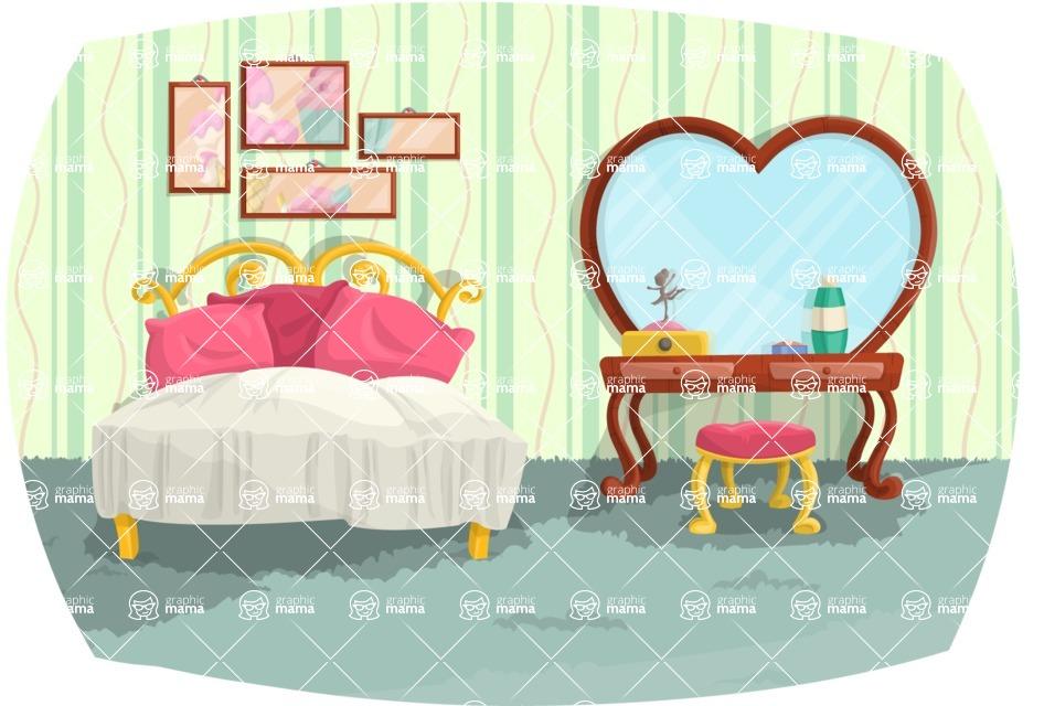 Pin Up Vectors - Mega Bundle - Vintage Bedroom Interior