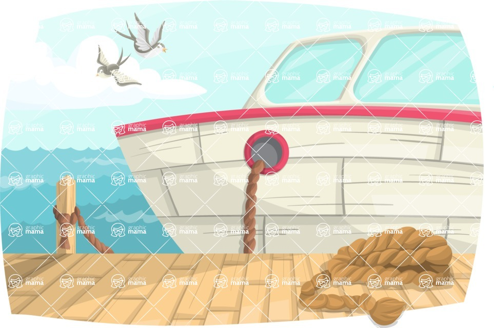 Pin Up Vectors - Mega Bundle - Boat at Dock