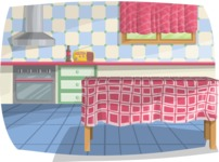 Pin Up Vectors - Mega Bundle - Vintage Kitchen Interior