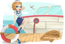 Pin Up Vectors - Mega Bundle - Marine Girl at Dock