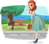 Pin Up Vectors - Mega Bundle - Pinup Girl on a Walk