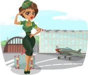 Pin Up Vectors - Mega Bundle - Military Girl at Airport