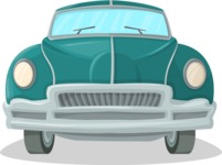 Pin Up Vectors - Mega Bundle - Retro Car Front View