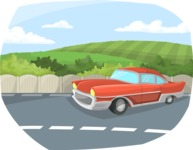Pin Up Vectors - Mega Bundle - Retro Car on the Road