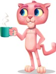 Pink Panther Cartoon Vector Character - Drinking Coffee