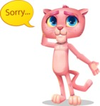 Pink Panther Cartoon Vector Character - Feeling sorry