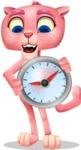 Pink Panther Cartoon Vector Character - Holding clock