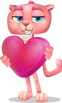 Pink Panther Cartoon Vector Character - Holding heart