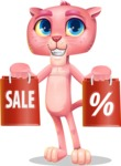 Pink Panther Cartoon Vector Character - Holding shopping bags