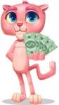 Pink Panther Cartoon Vector Character - Show me the Money