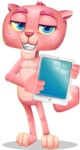 Pink Panther Cartoon Vector Character - Showing tablet
