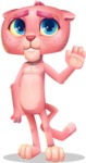 Pink Panther Cartoon Vector Character - Waving for Goodbye with a hand