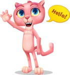 Pink Panther Cartoon Vector Character - Waving for Hello with a hand